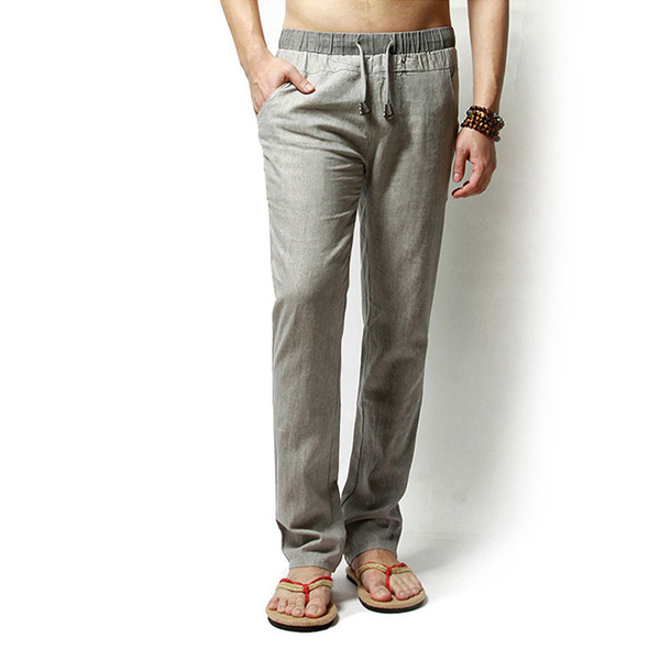 Linen Solid Color Casual Loose Men Long Trousers Flax Leisure Pants