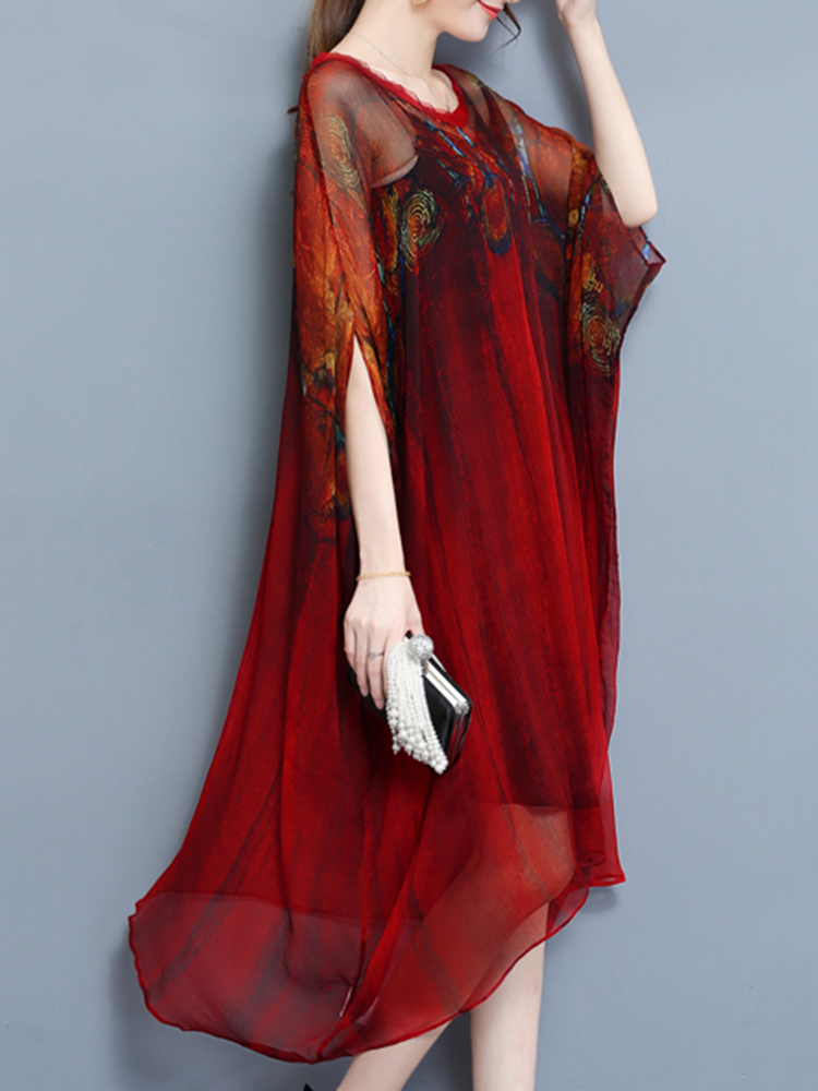 Elegant Two Piece Batwing Sleeve Printed Irregular Hem
