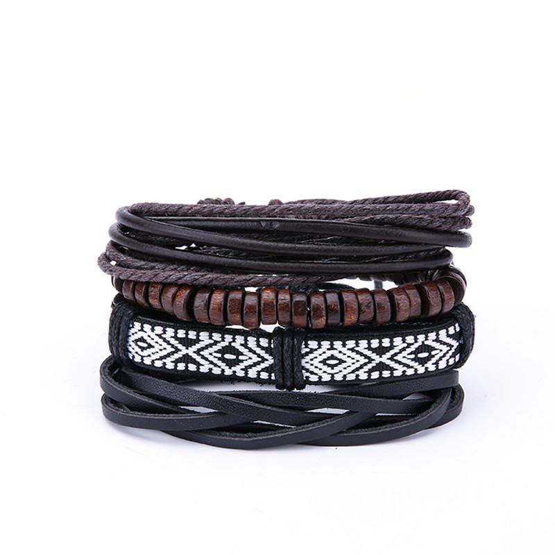 Vintage Men's Multilayer Leather Bracelets Boho Geometr