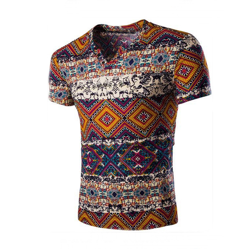 Mens Ethnic Style Casual V-neck Short Sleeve T-shirts