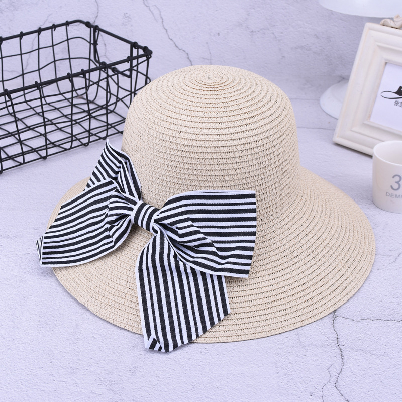 Fashion Outdoor Summer Sun Protection Wide Brimmed Floppy Hat With Bowknot for Women