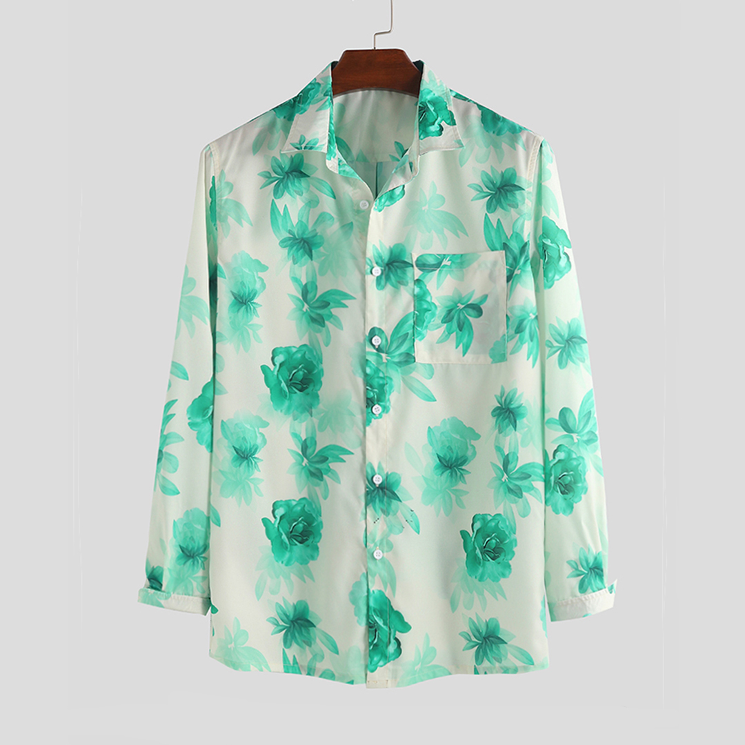 Men Floral Printed Casual Long Sleeve Chest Pocket Lape