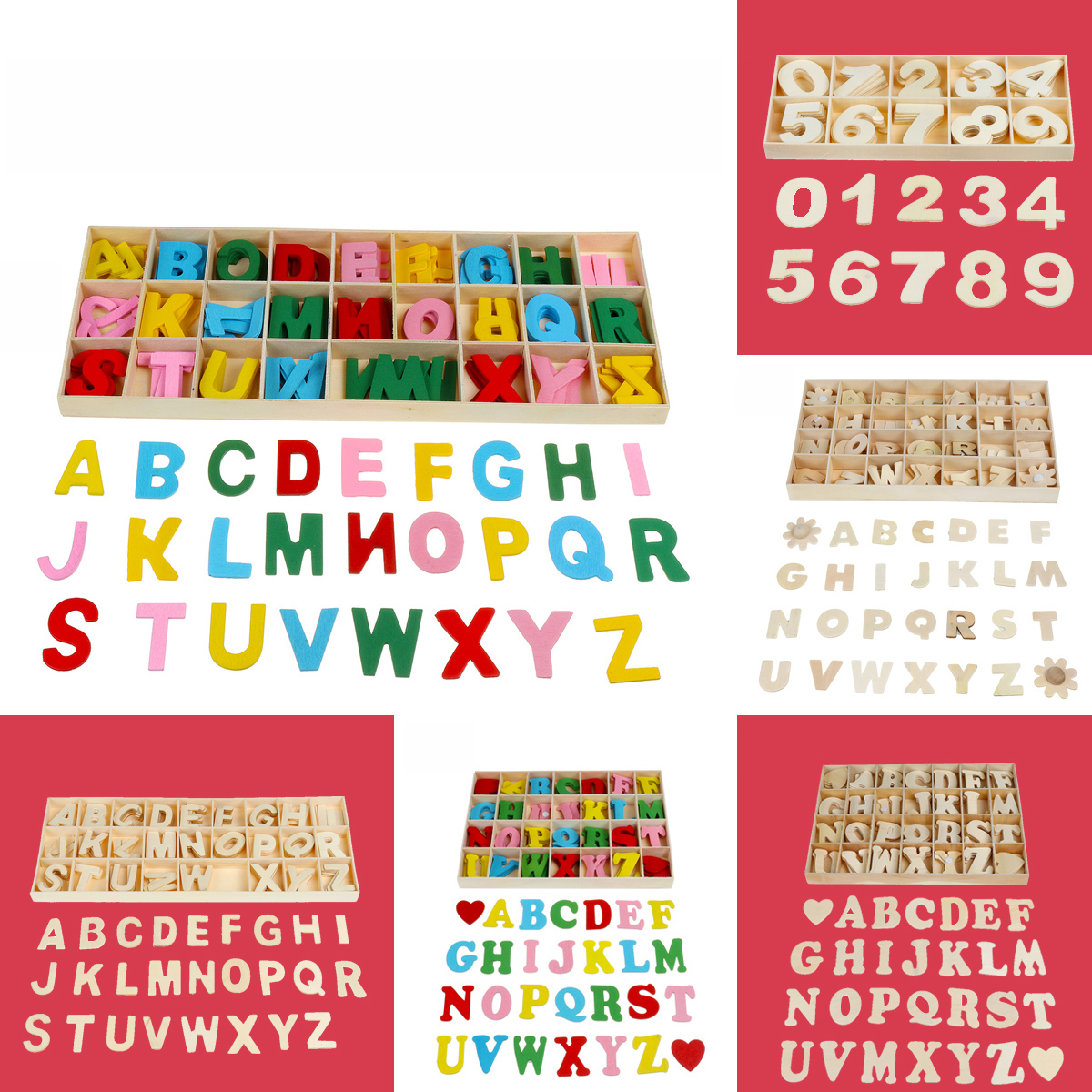 Wooden Alphabet Scrabble Toy Letters Number Educational Craft Children Kids Learning Toys Gift