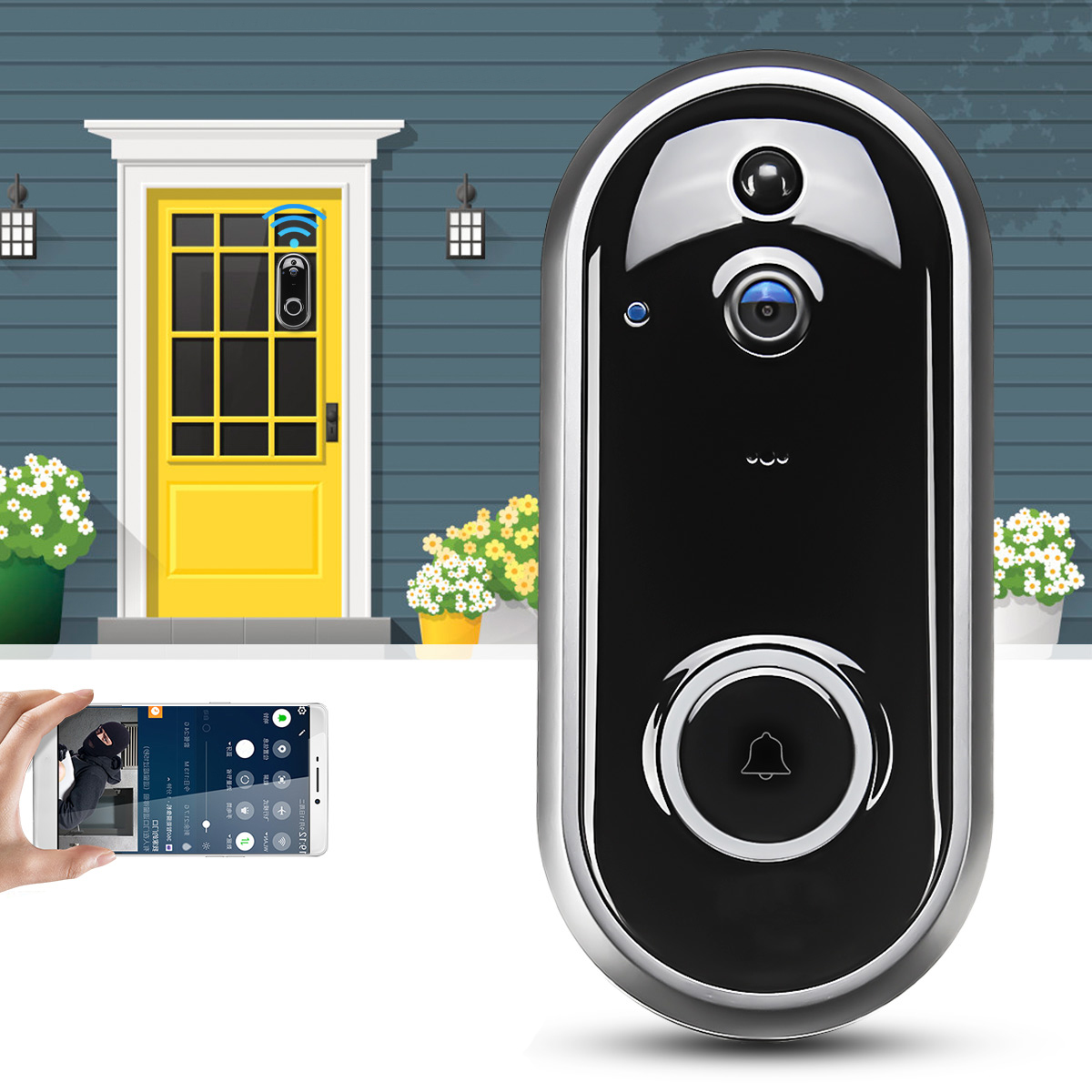 Video Doorbell Camera Wireless WiFi Security Phone Ring ...