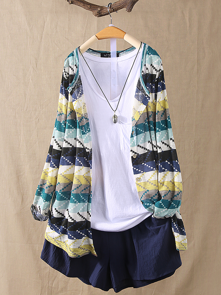 Women Color Patchwork Striped Knitting Long Sleeve Cardigans