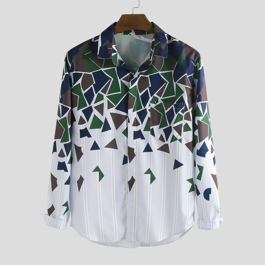 Men Geometric Patterns Printed Long Sleeve Turn Down Co
