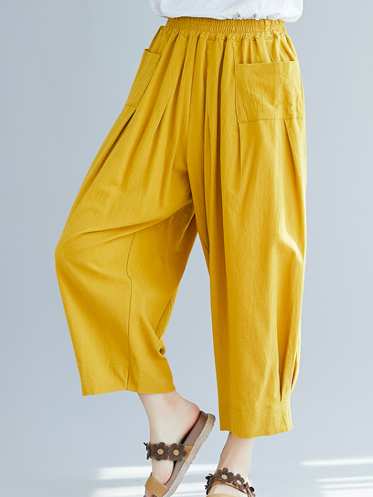 Solid Color Loose Elastic Waist Wide Leg Pants with Pockets