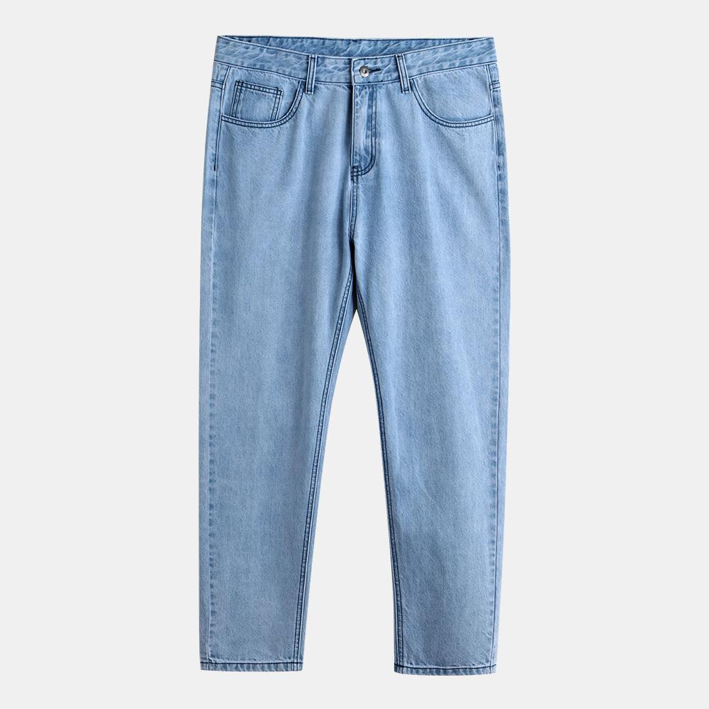 Men 100% Cotton Solid Color Loose Casual Jeans Pants
