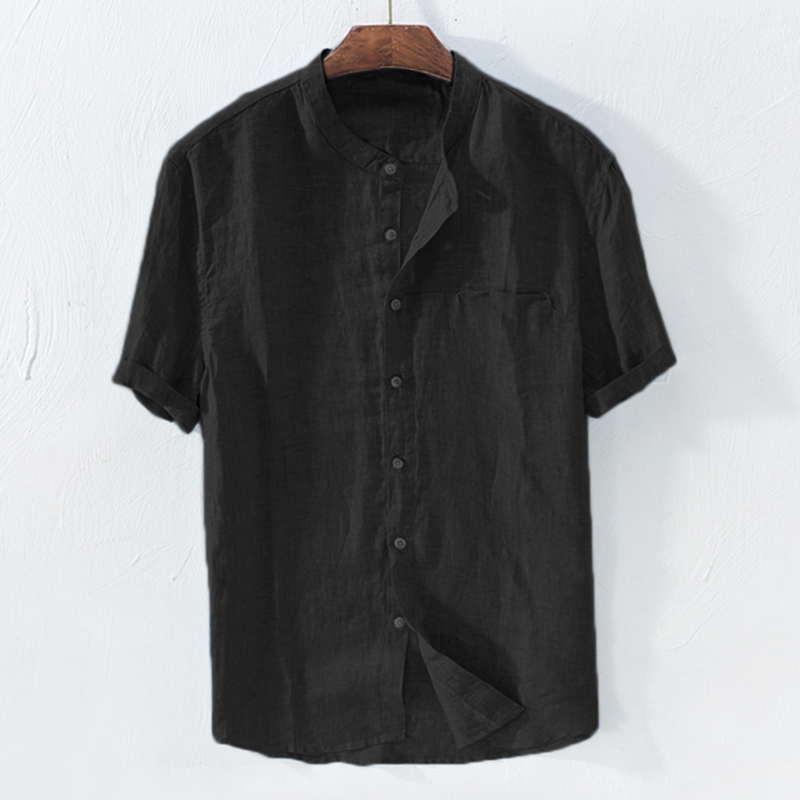 TWO-SIDED Mens Linen Breathable Fashion Short Sleeve St