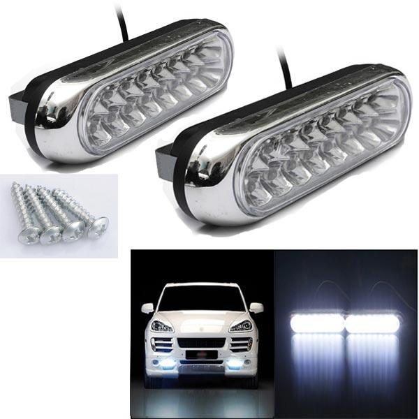 2W Car Daytime Running Fog White 16 LED Light Lamp 12V