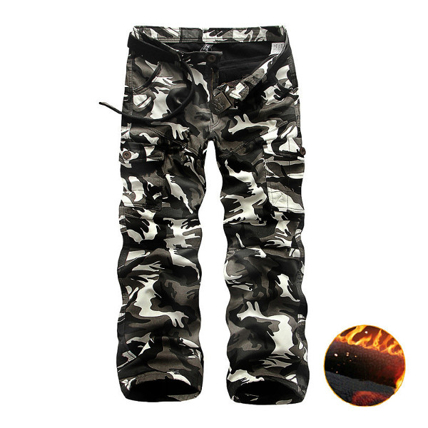 Winter Thick Fashion Cotton Warm Mens Cargo Pants Outdoor Casual Camouflage Pocket Overalls