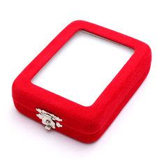 Red Velvet Necklace Pendant Jade Jewelry Box Case Display Holder