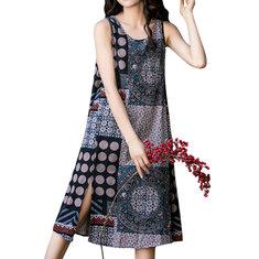 Women Sleeveless Random Printed Patchwork Split Hem Casual Dresses