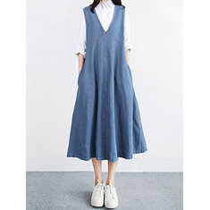 Women Vintage V-neck Sleeveless Pleated Denim Dress