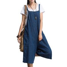 Women Loose Denim Blue Strap Pocket Jumpsuit Trousers