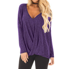 Sexy Solid Front Cross Irregular Blouses