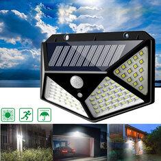100 LED Solar Powered PIR Motion Sensor Wall Light Zewnętrzna lampa ogrodowa 3 tryby