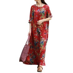 Ethnic Floral Printed Long Sleeve Scoop Neck Maxi Dress For Women