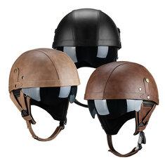 PU Leather Vintage Size Motorcycle Half Helmet With Sun Visor Detachable Collar For Harley