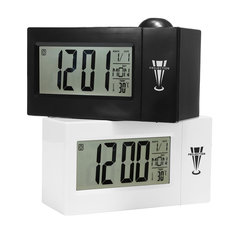 Snooze Alarm Clock Backlight Wall Projector Projection Clocks With Thermometer 12/24 Hour Calendar