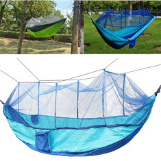 IPRee™ Portable Double Parachute Hammock Nylon Hanging Swing Bed With Mosquito Net Max Load 300kg
