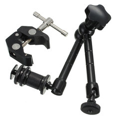 11 Inch Articulate Magic Arm With Super Clamp Crab Plier Clip For DSLR Camera