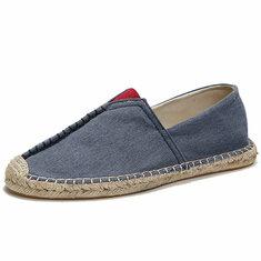 МужскаяповседневнаяручнаявышивкахолстEspadrille Loafers Flats