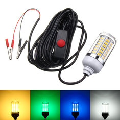 DC12V 7W SMD2835 108 Underwater LED Fishing Night Boat Attracts Fish Squid Light Bulb with Switch