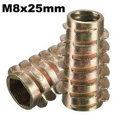 5Pcs M8x25mm Hex Drive Screw In Threaded Insert For Wood Type E