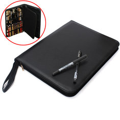Luxury Black Fountain Pen / Roller Pen 48 Pens Case Holder Bag