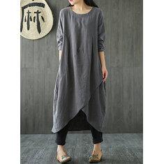 Women Pocket Irregular Linen Cotton Maxi Dress