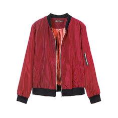 Fashion Women Stand Collar Zipper Pocket Sport Jacket