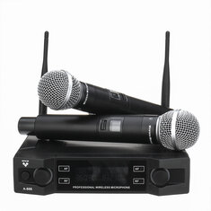 EPXCM A-666 UHF Wireless 2Ch Handheld Mic Cardioid Microphone System for Kraoke Speech Party