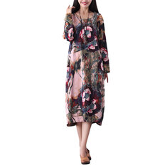 S-5XL Casual Women Floral Printing Pockets Dress