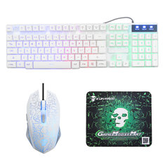 Rainbow Backlight USB Wired Gaming Keyboard 2400DPI LED Mouse Combo with Mouse Pad