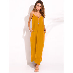 Casual Women Spaghetti Strap V-neck Long Maxi Dress