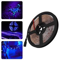 5M 36W 3528SMD Waterproof Flexible UV Purple 300 LED Strip Light with DC Connector DC12V