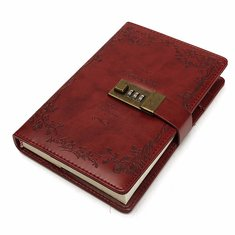 B6 Vintage PU Leather Journal Diary Notebook With Password Code Lock 120 Sheets Stationery Supplies