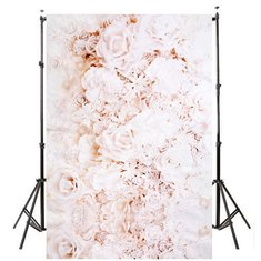 3x5FT 4x5FT  Wall White Rose Flower Vinyl Photography Background Backdrop Photo Studio Prop
