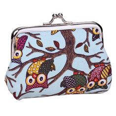 Ladies Lovely Cartoon Owl Buckle Purse Women Animal Changes Wallets