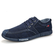 Mens Denim Cloth Flats Breathable Loafers
