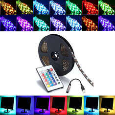 0.5/1/2/3/4/5M SMD5050 RGB LED Strip Lamp Bar TV Backlilghting Kit + USB Remote Control DC5V