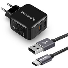 BlitzWolf® BW-S6 QC3.0+2.4A 30W Dual USB Charger EU + BW-TC1 3A USB Type-C Braided Charging Data Cable 3ft/0.9m