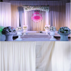 White Sheer Silk Drapes Panels Hanging Curtains Backdrop Home Wedding Party Decor