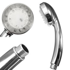 Chrome Bathroom Handheld ABS LED Shower Head 7 Color Changing Water Glow Light