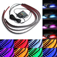 4pcs Waterproof RGB Car LED Decoration Lights Strip Underglow Neon Lamp Kit 12V with Remote Control