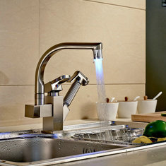 LED Nickel Home Kitchen Sink Faucet Hot Cold Water Mixer Tap Pull Out Spray