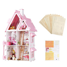Iiecreate Large Wooden Kids Doll House Kit Girls Play Dollhouse Mansion Furniture