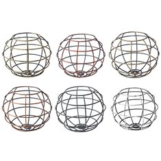 Iron Vintage Ceiling Light Fitting Lamp Bulb Sphere Shape Cage Bar Cafe Lampshade