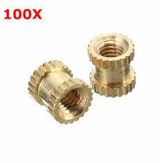 Suleve™ M3BN2 100pcs M3x5x5mm Metric Threaded Brass Knurl Round Insert Nuts